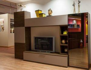 muebles de salon color beladur combinado con laca mate y espejo