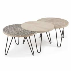 HOSS Set 3 mesas centro metal negro madera mango